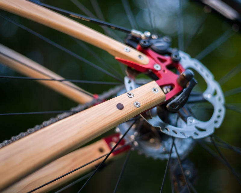 Rear disk brake on Renovo Badash 29er wooden bicycle