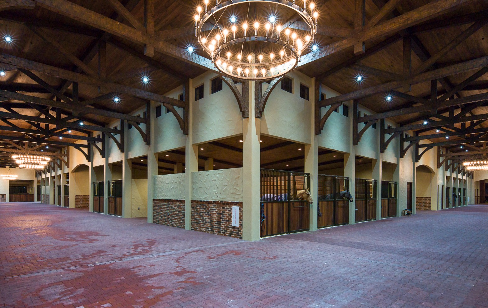 timber frame interior of the largest horse barn in the US