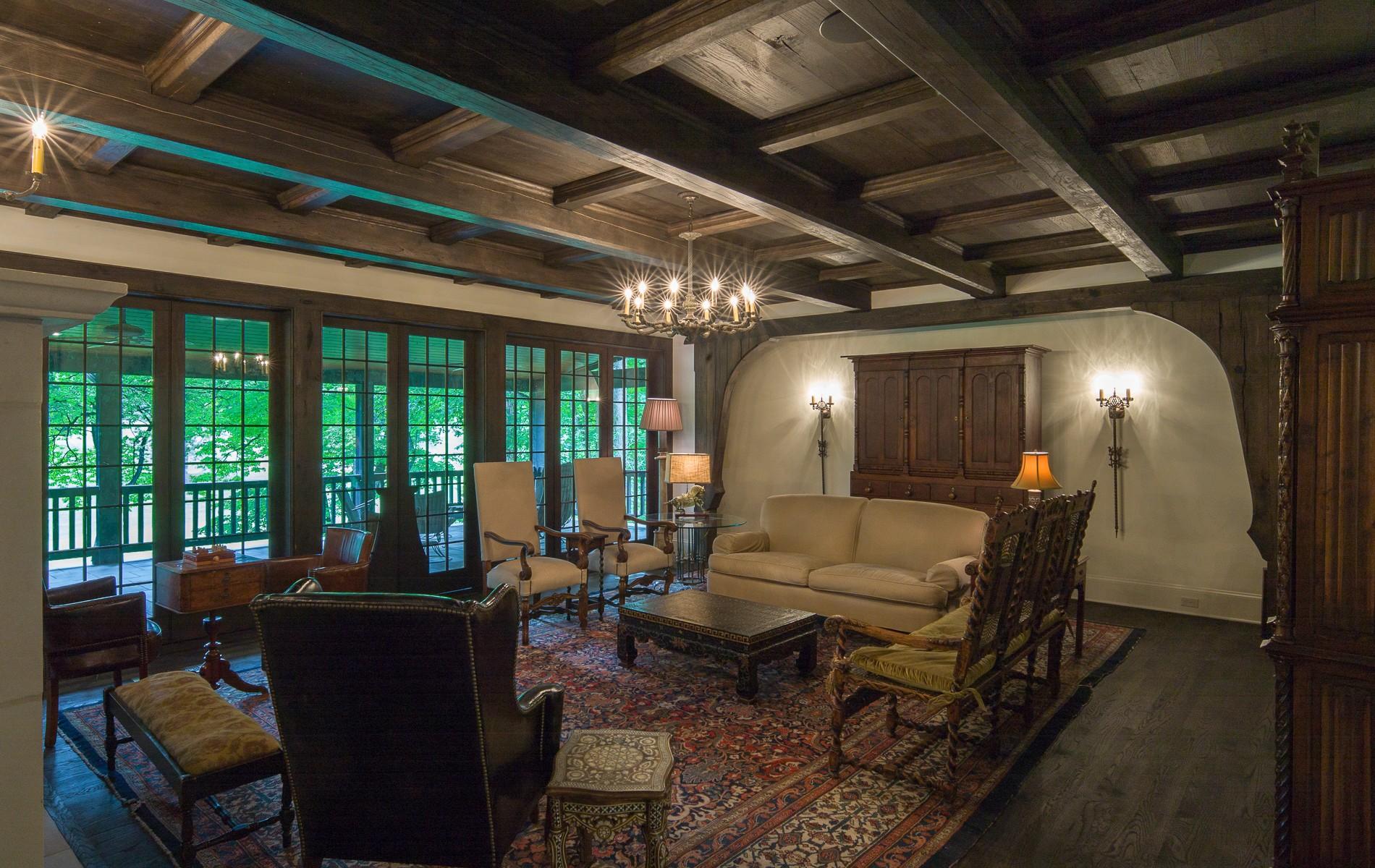white oak timber frame living room ceiling Asheville NC