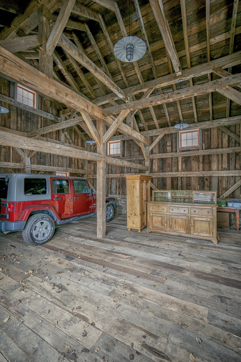Reclaimed wood beams for A frame garage