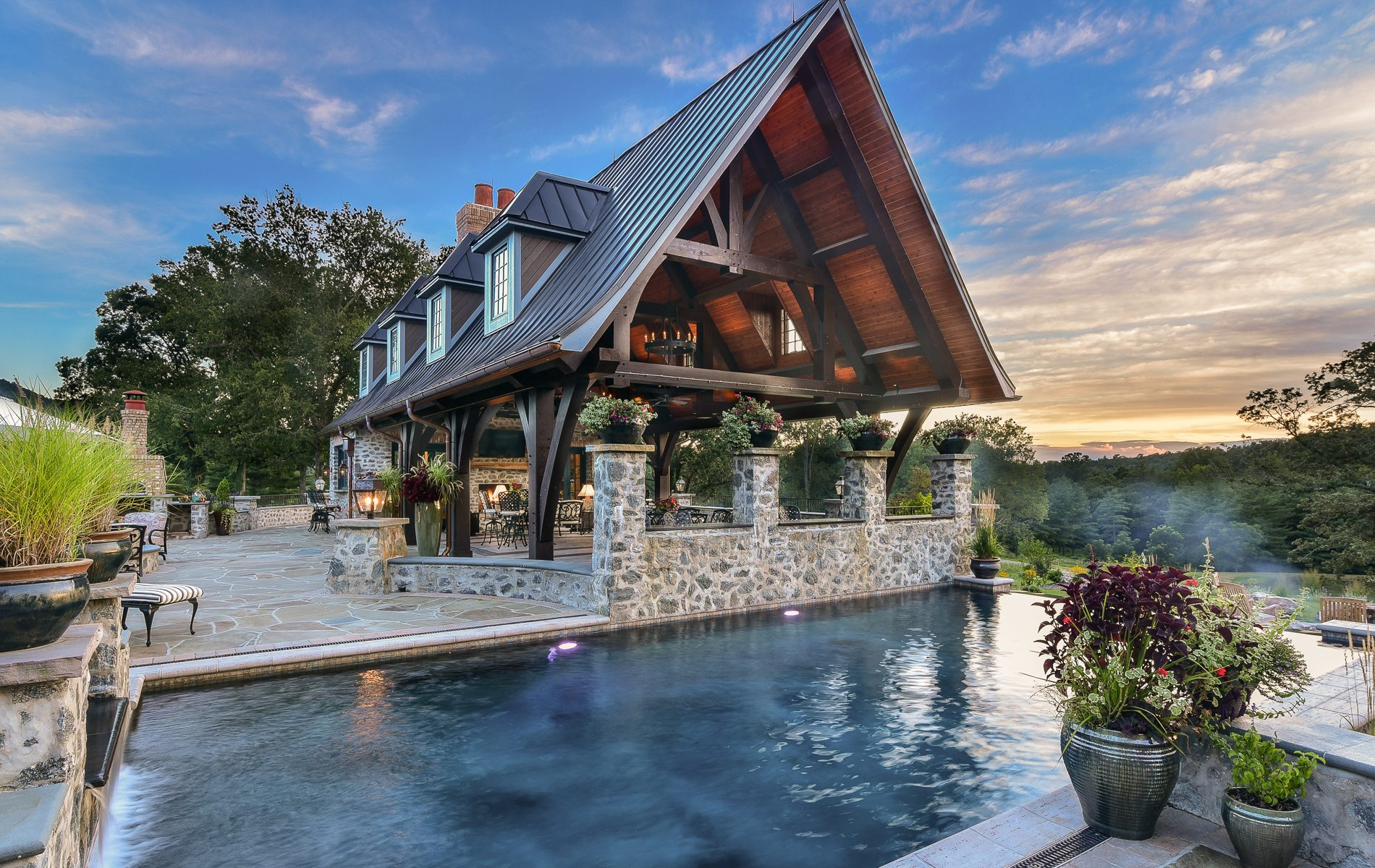 Post and Beam Pool Pavilion with commercial kitchen
