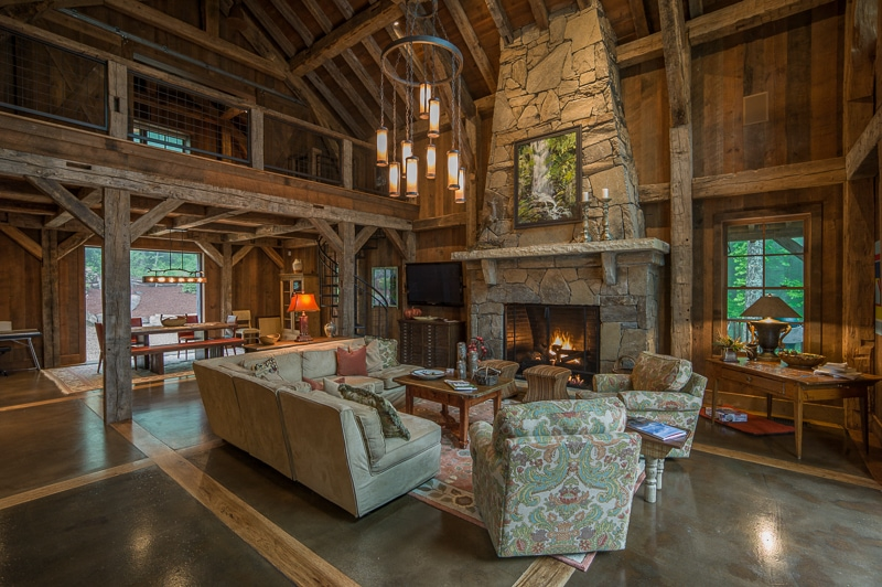 eclaimed wood structural timber frame great room in Highlands NC