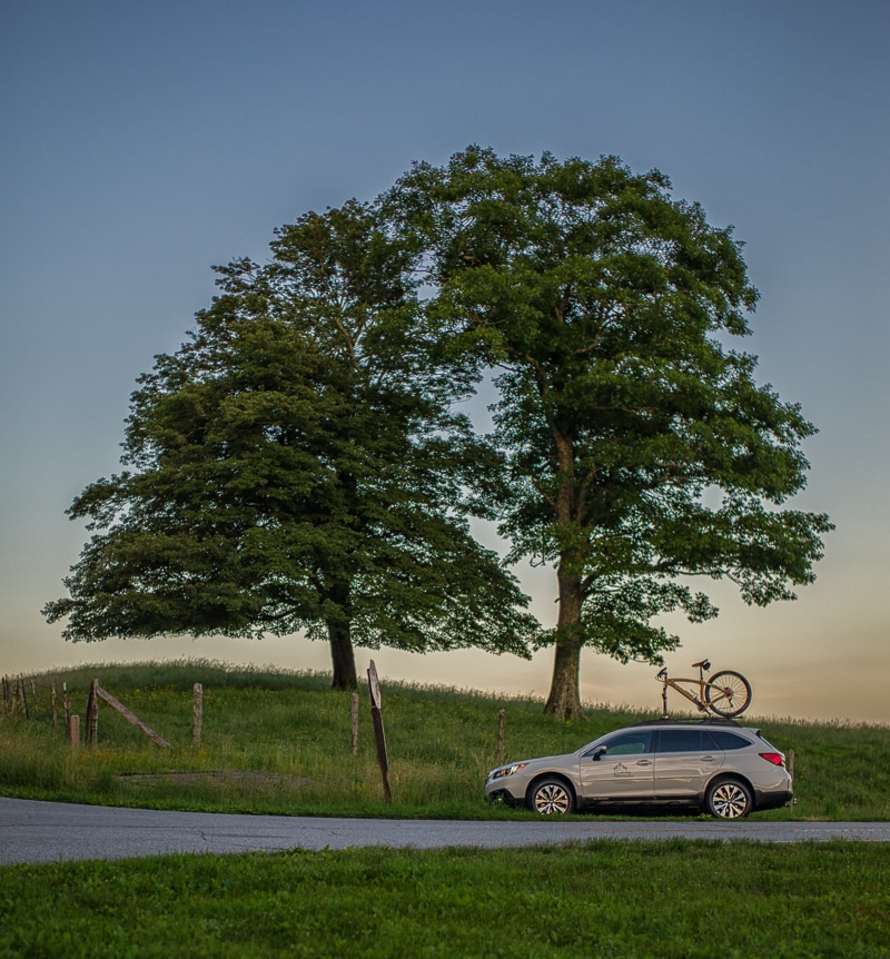 Carbon fiber wood in a Renovo wooden bicycle on the Blue Ridge Parkway