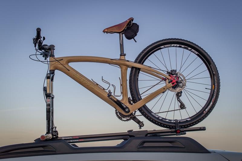 Nature's Carbon Fiber Wood Renovo Badash 29er atop Carolina Timberworks' Subaru on the Blue Ridge Parkway