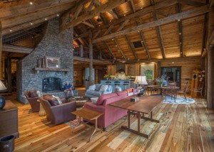 reclaimed wood timber frame great room