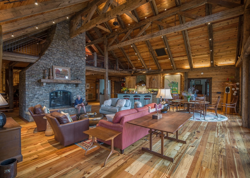 A Timber Frame Greatroom from Reclaimed Wood on the New River in VA