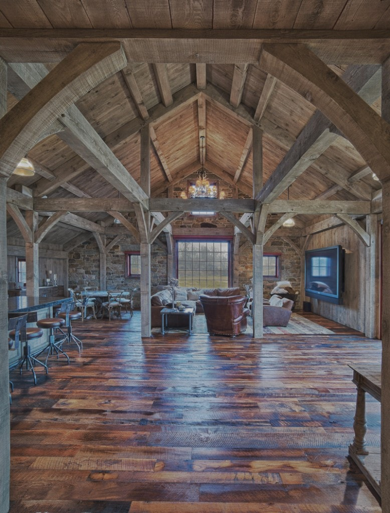 timber frame party barn great room
