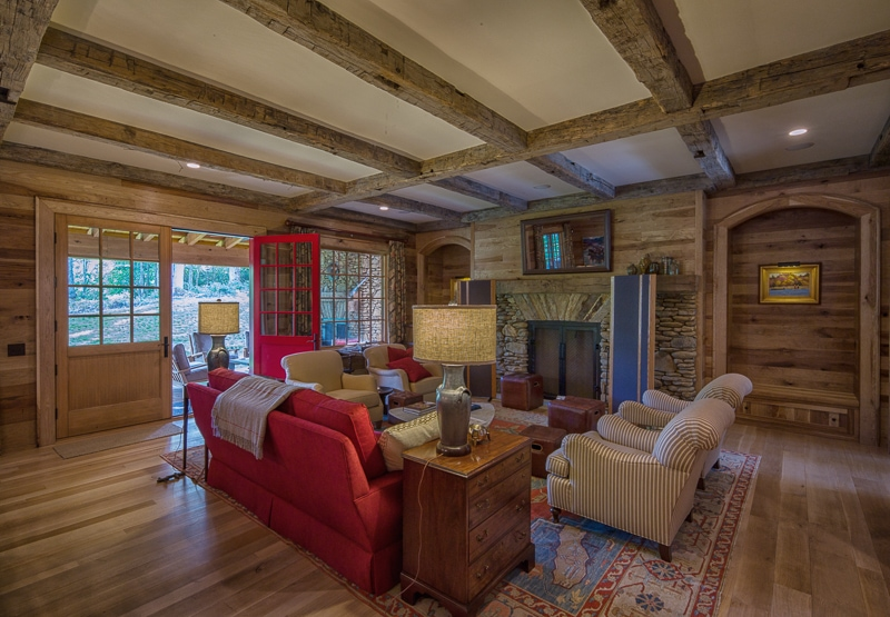 exposed reclaimed wood beams living room ceiling