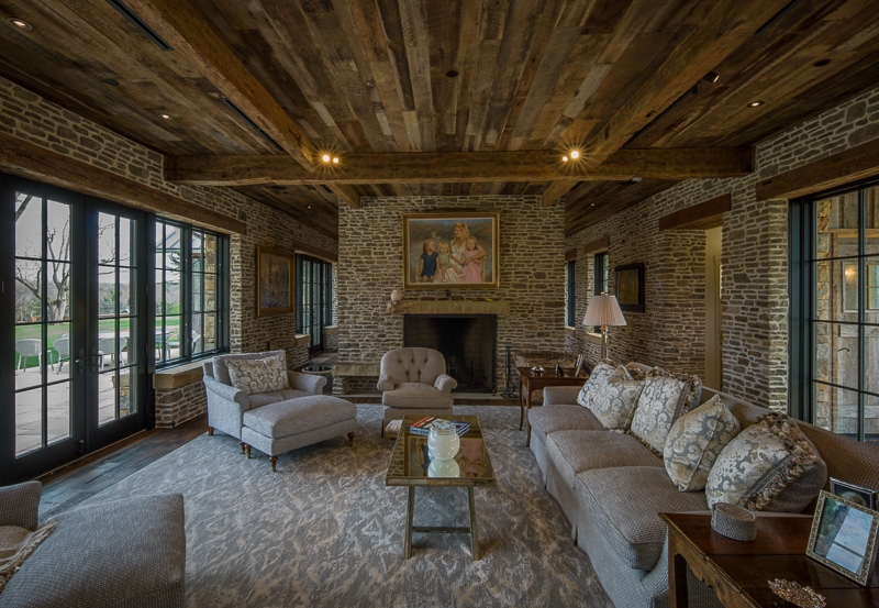 weathered beams and siding in a living room ceiling