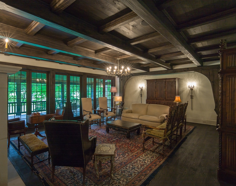 Oak wood beams on living room ceiling