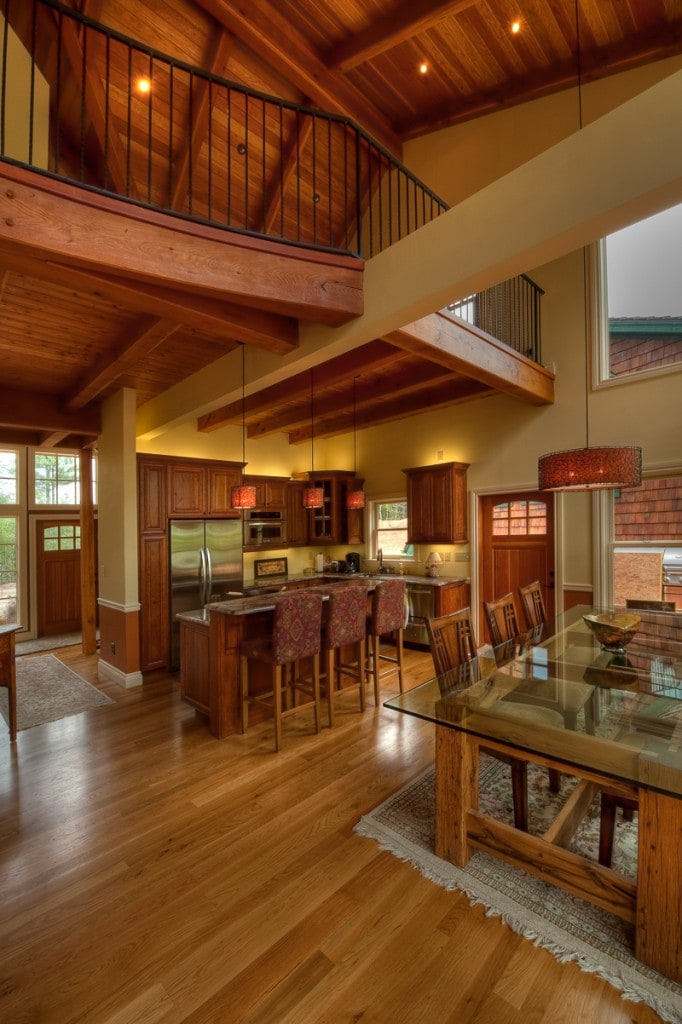 timber frame great room loft kitchen on lake james nc