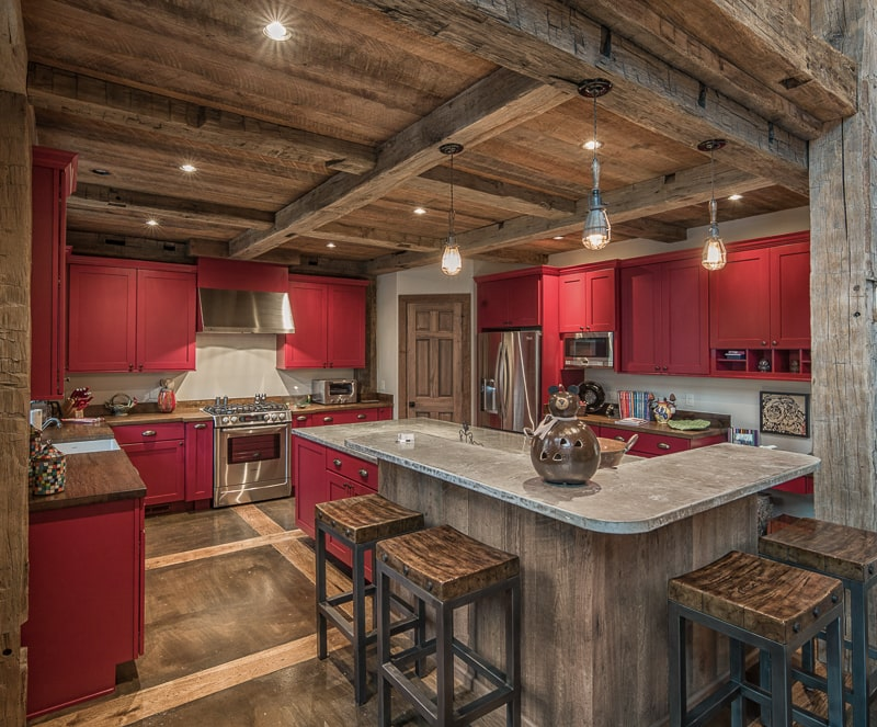 reclaimed wood kitchen beams highlands nc