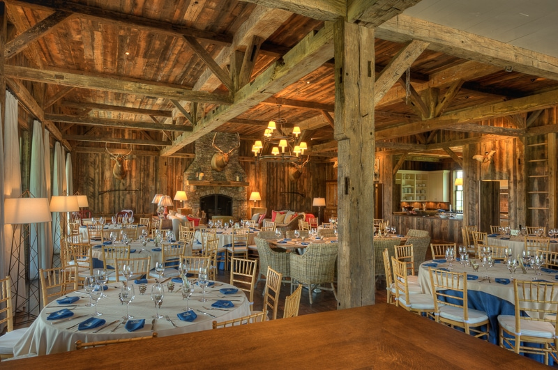 Party Barn Dining Room reclaimed hand hewn white oak barn timber