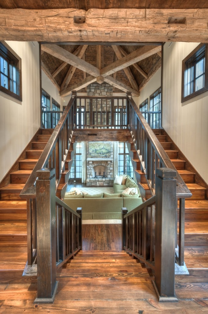 reclaimed wood stairway and great room