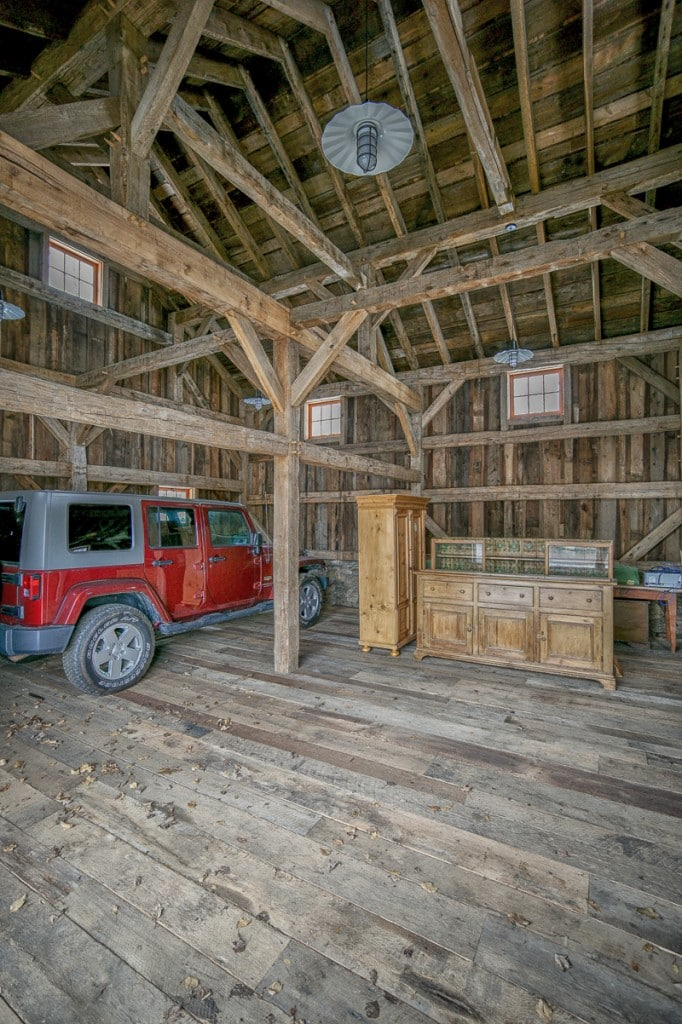 reclaimed wood timber frame garage car barn