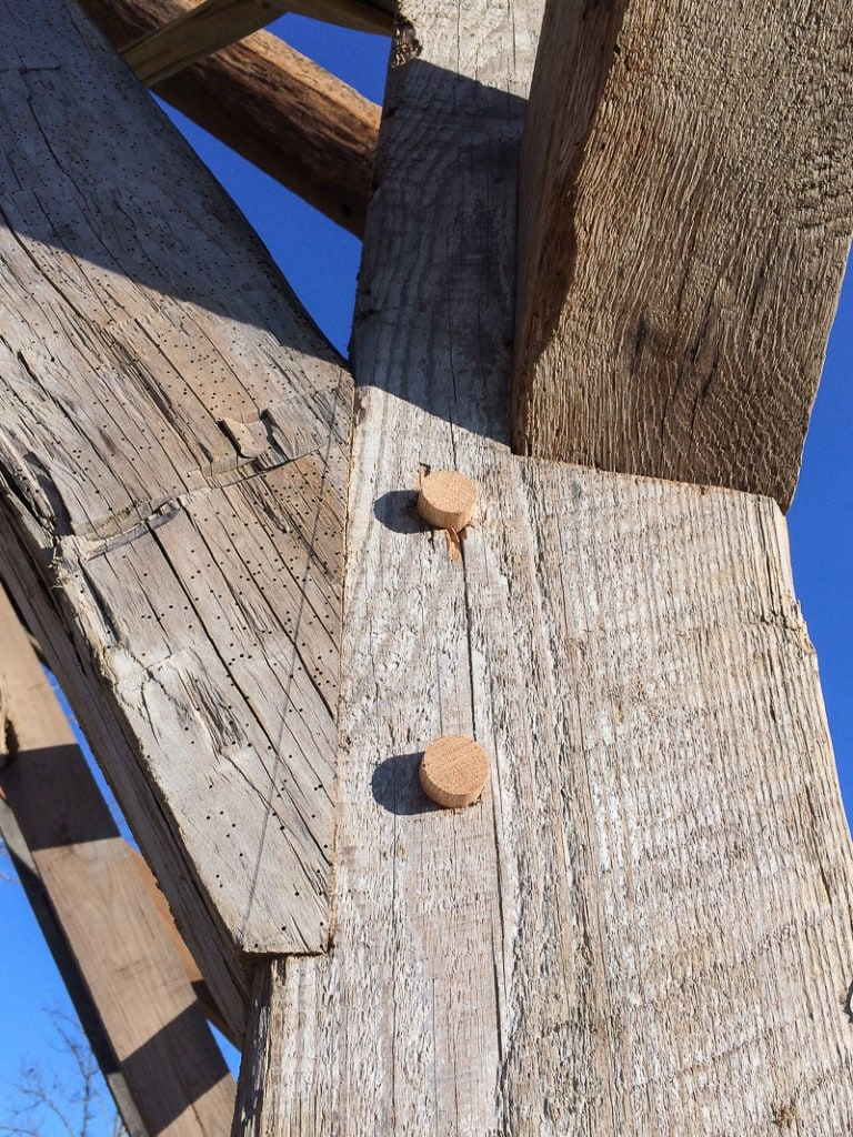 reclaimed wood timber frame joinery