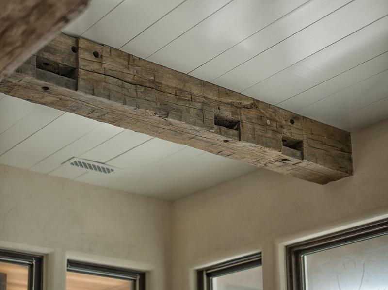 Reclaimed wood beam ceiling nickel gap painted ceiling