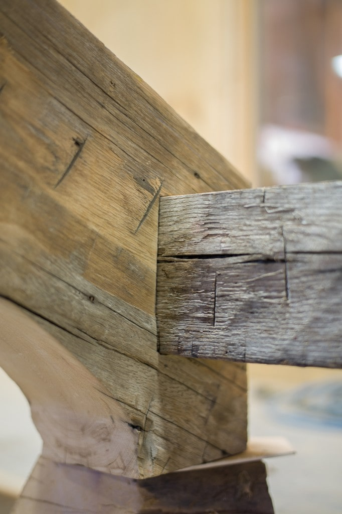 Fully-housed and scribed timber frame joinery reclaimed wood