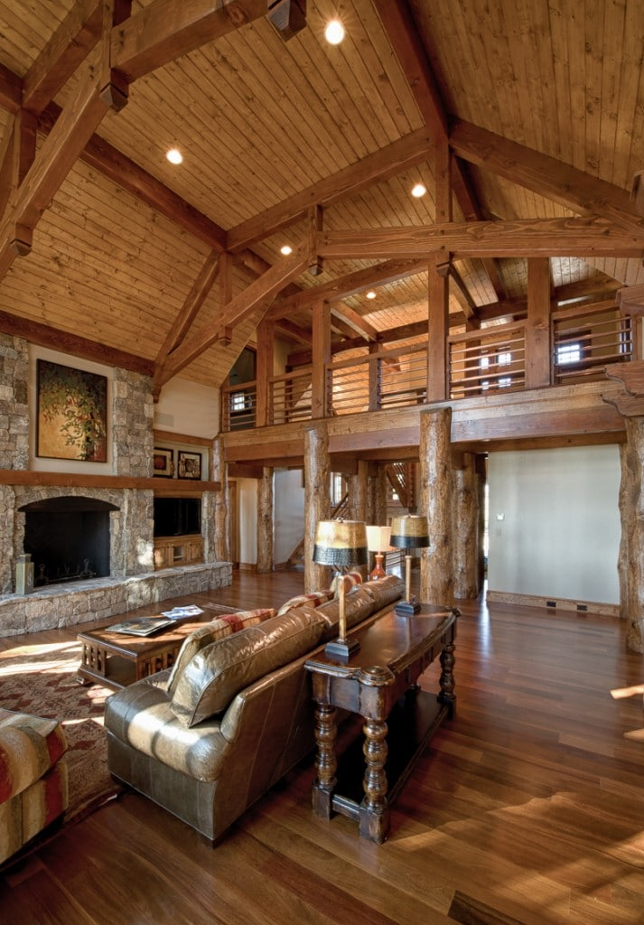 round log and square timber frame great room