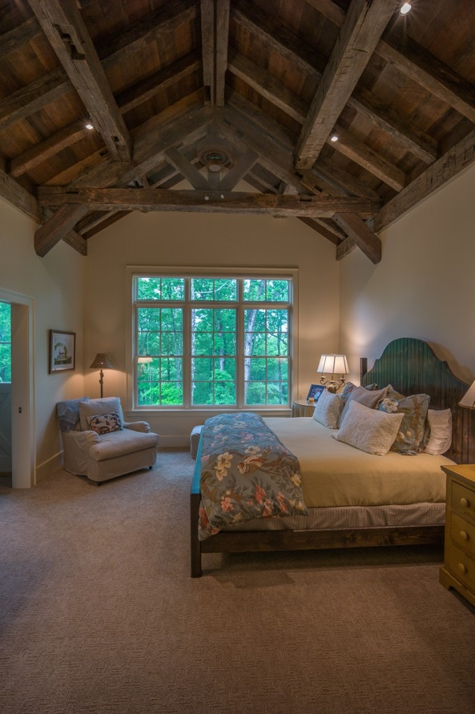 reclaimed wood timber frame master bedroom