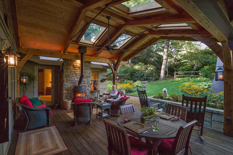 outdoor living on a timber frame covered deck