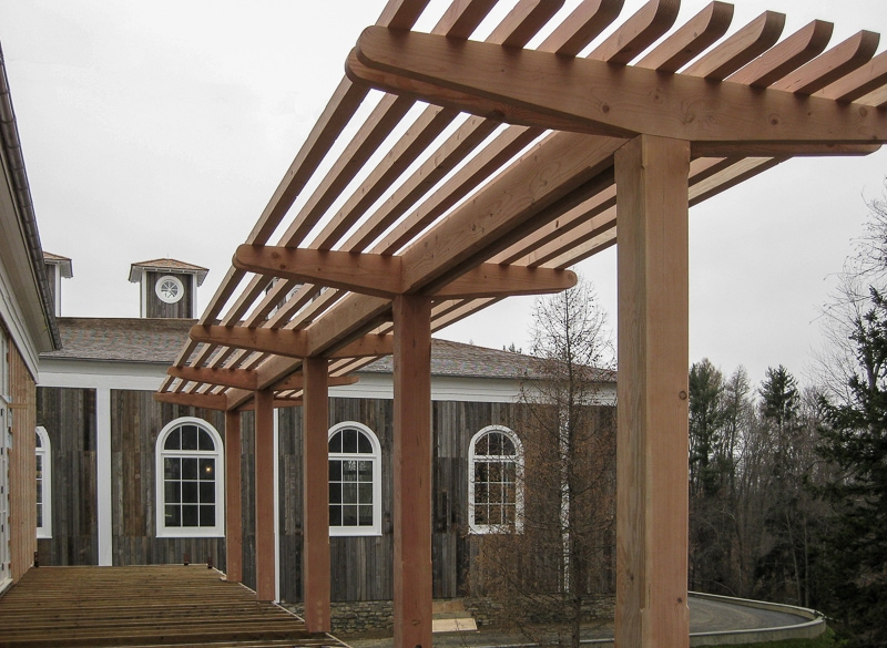 cedar post and beam trellis