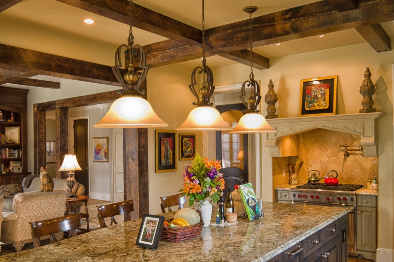 pine beams in french country kitchen charlotte nc