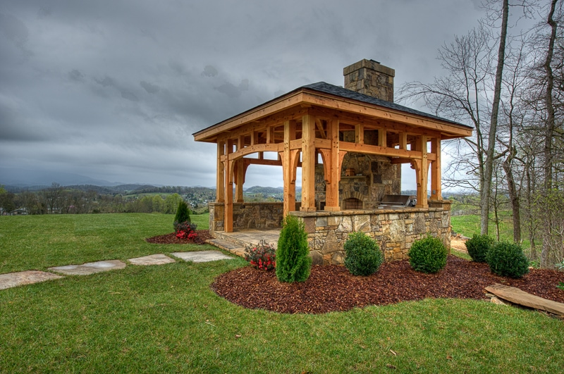 Timber frame pavilions gazebos more for Outdoor gazebo plans with fireplace