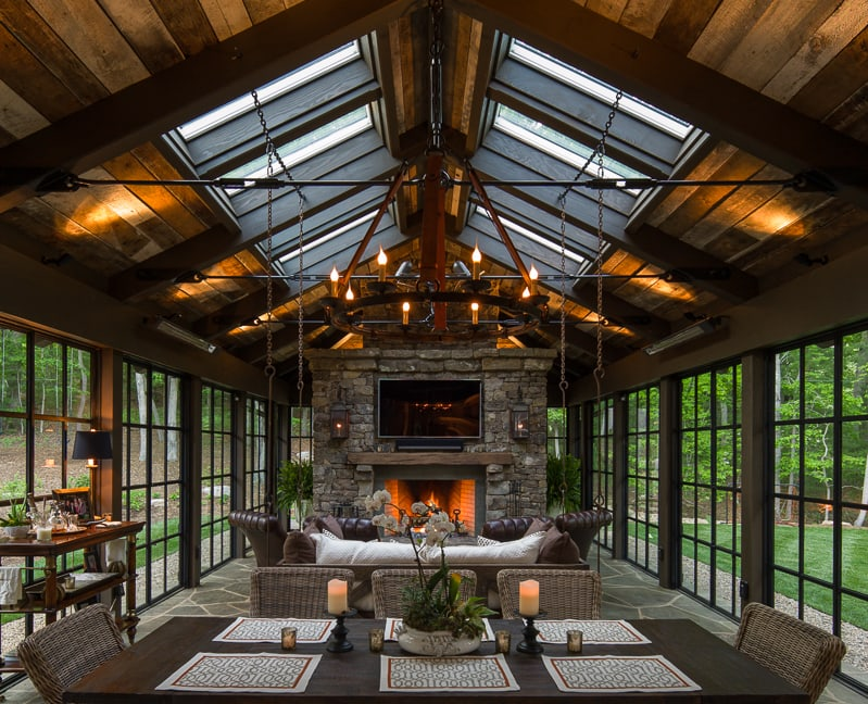 Glass and timber four-season pavilion with reclaimed wood ceiling