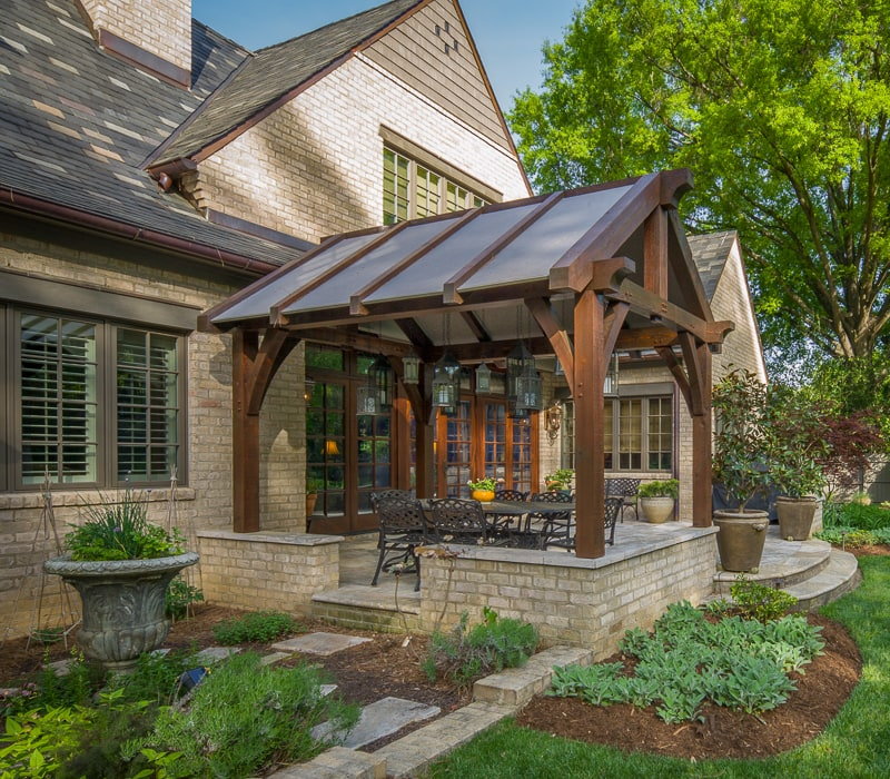 timber frame outdoor dining pavilion