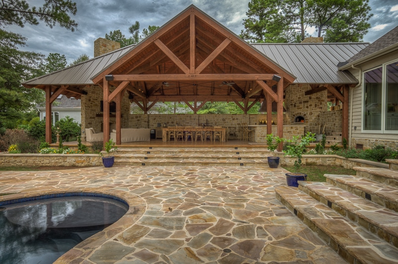 Timber Frame Pool House With Fireplace And Wood Burning Pizza Oven