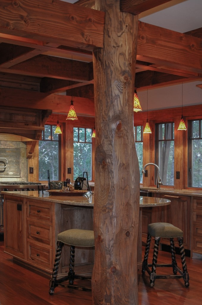 Rustic kitchen with round to square timber frame joinery