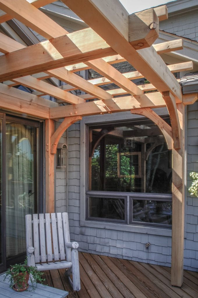 Cedar timber frame deck trellis