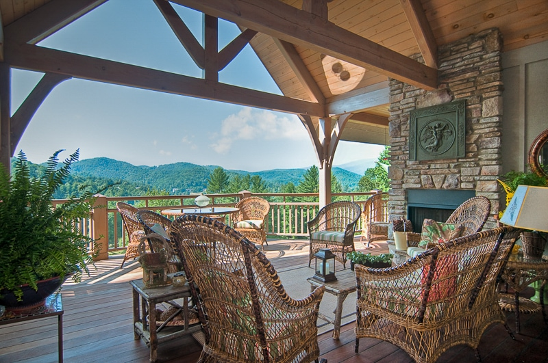 Timber frame porch in Western North Carolina mountains