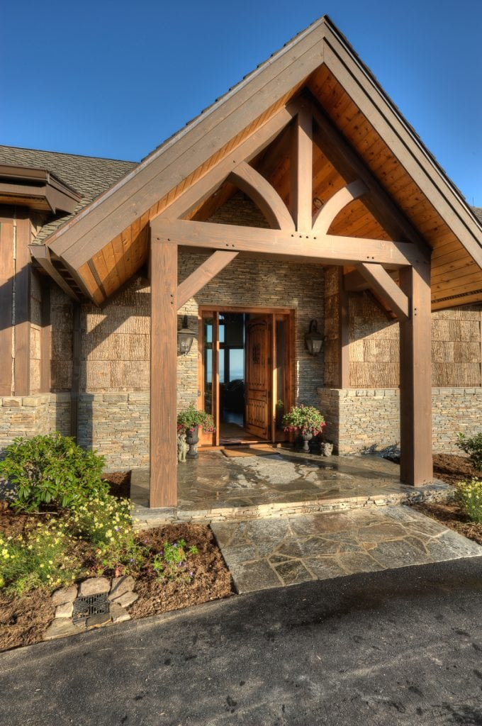 king post truss timber frame entry