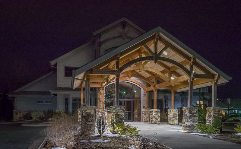 Medical Facility Timber Frame Porte Cochere Entry