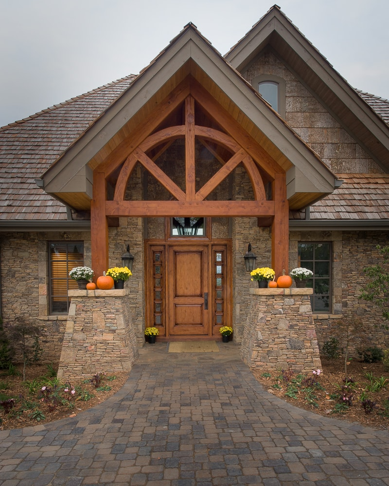 half circle arches timber frame entry