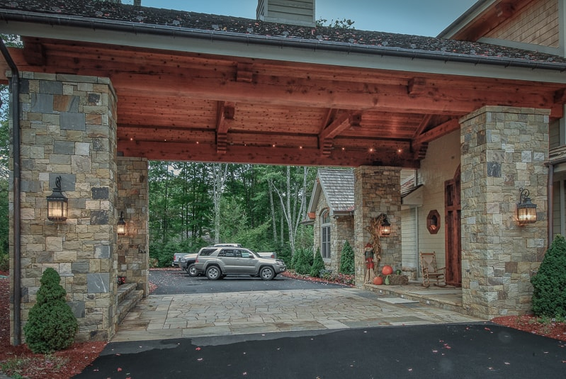 Timber Frame Porte Cochere Entry