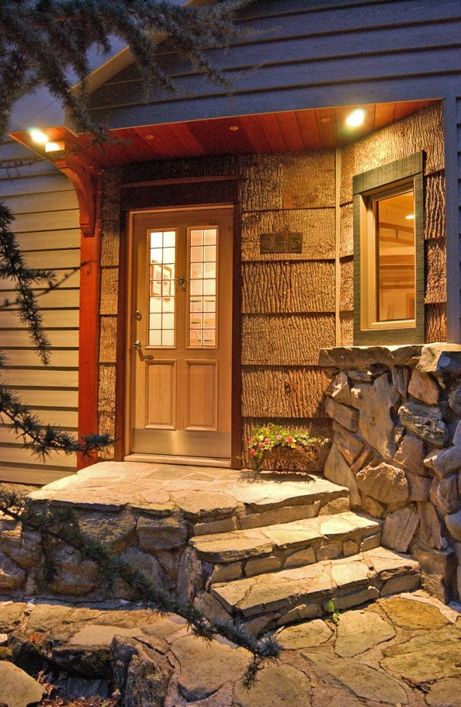 simple timber frame entry