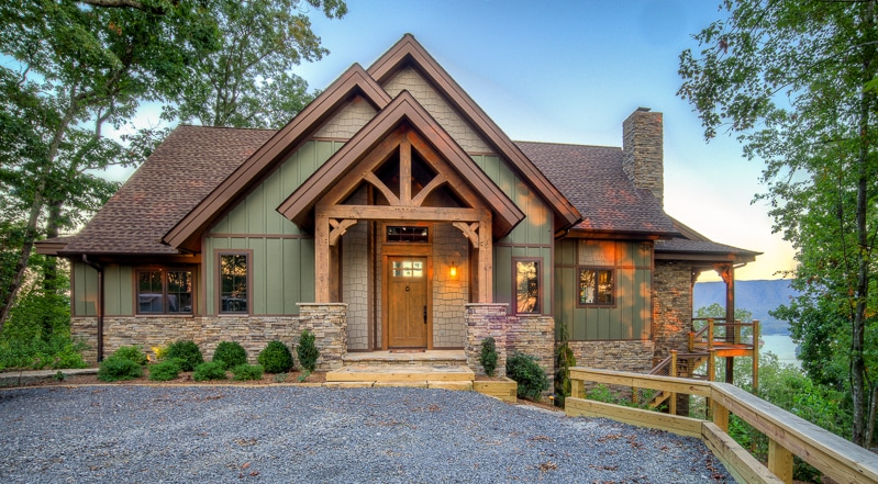 lake house timber frame entry