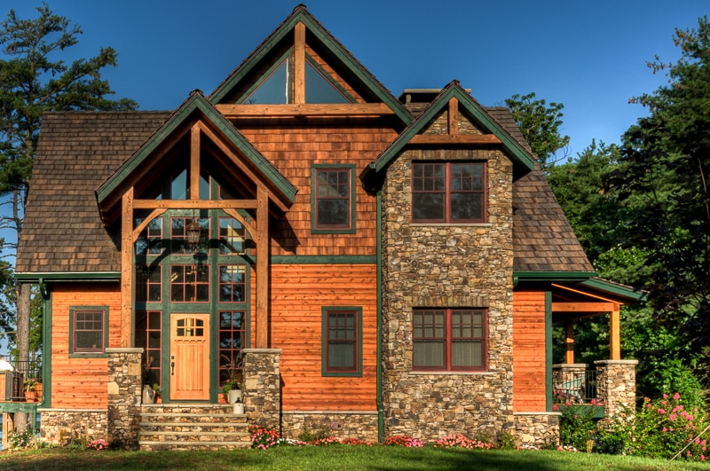 Timber Frame Front Entry on Lake House