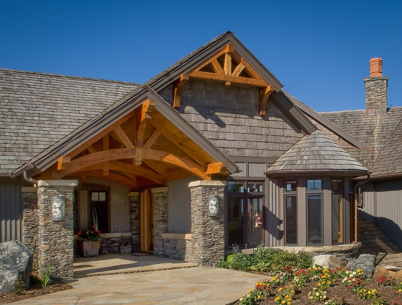 curved timber trusses entryway