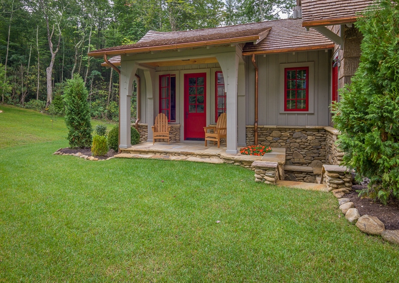 Small timber frame back porch