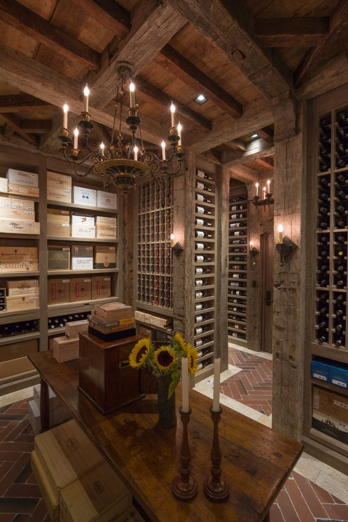 Wine Cellar Reclaimed Wood Beams