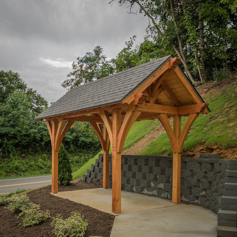 Timber frame post and beam bus shelter