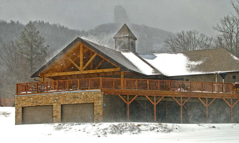 Commercial timber frame Sugar Mountain Clubhouse