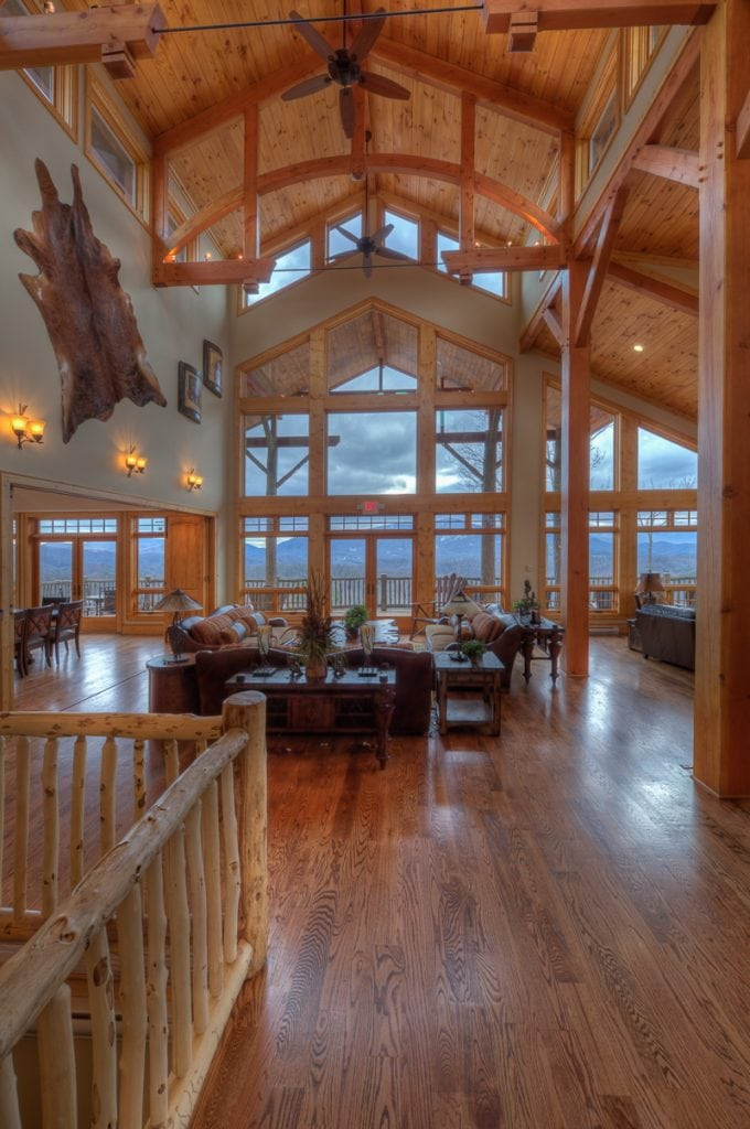 Timber frame clubhouse at the Headwaters at Banner Elk