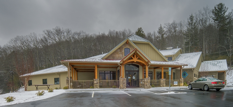 Commercial timber frame entry at Avery County Humane Society