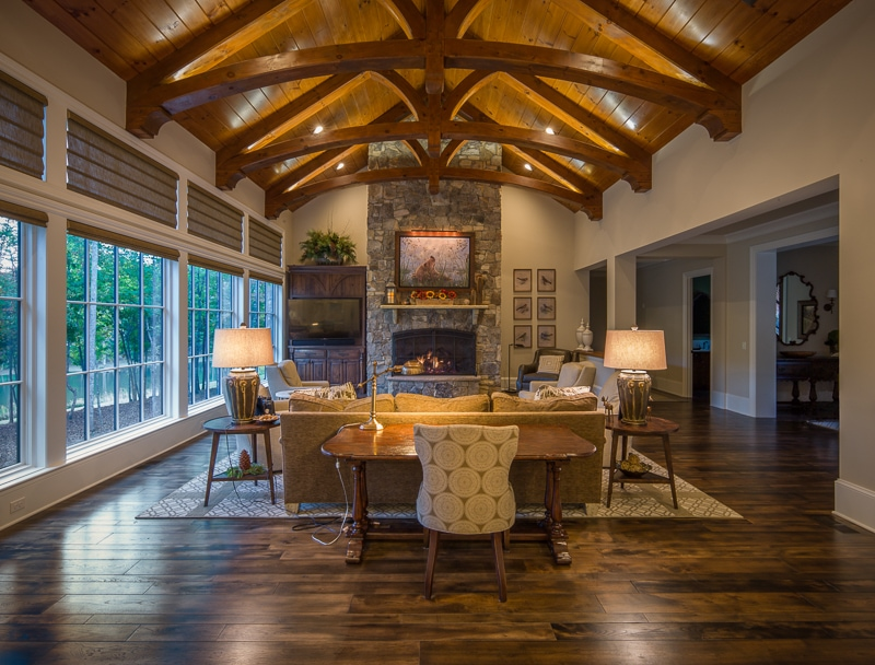 living room exposed wood beams