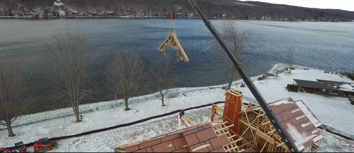Timber frame over NY lake